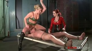 Two Femdom Whores Punish Tied Male